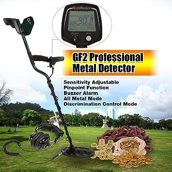 Detector GF2 Metro Profesional de Metales de Mano Treasure Hunter Buscador de buscador de Oro con Auriculares Pantalla LCD: Amazon.es: Jardín