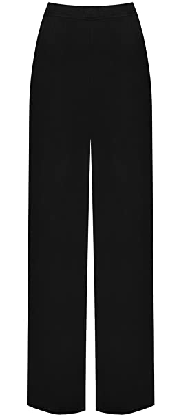 1d18a0cc298 WearAll Ladies Palazzo Wide Leg Flared Elasticated Stretch Plus Size Plain Trousers  Sizes 16-26  Amazon.co.uk  Clothing