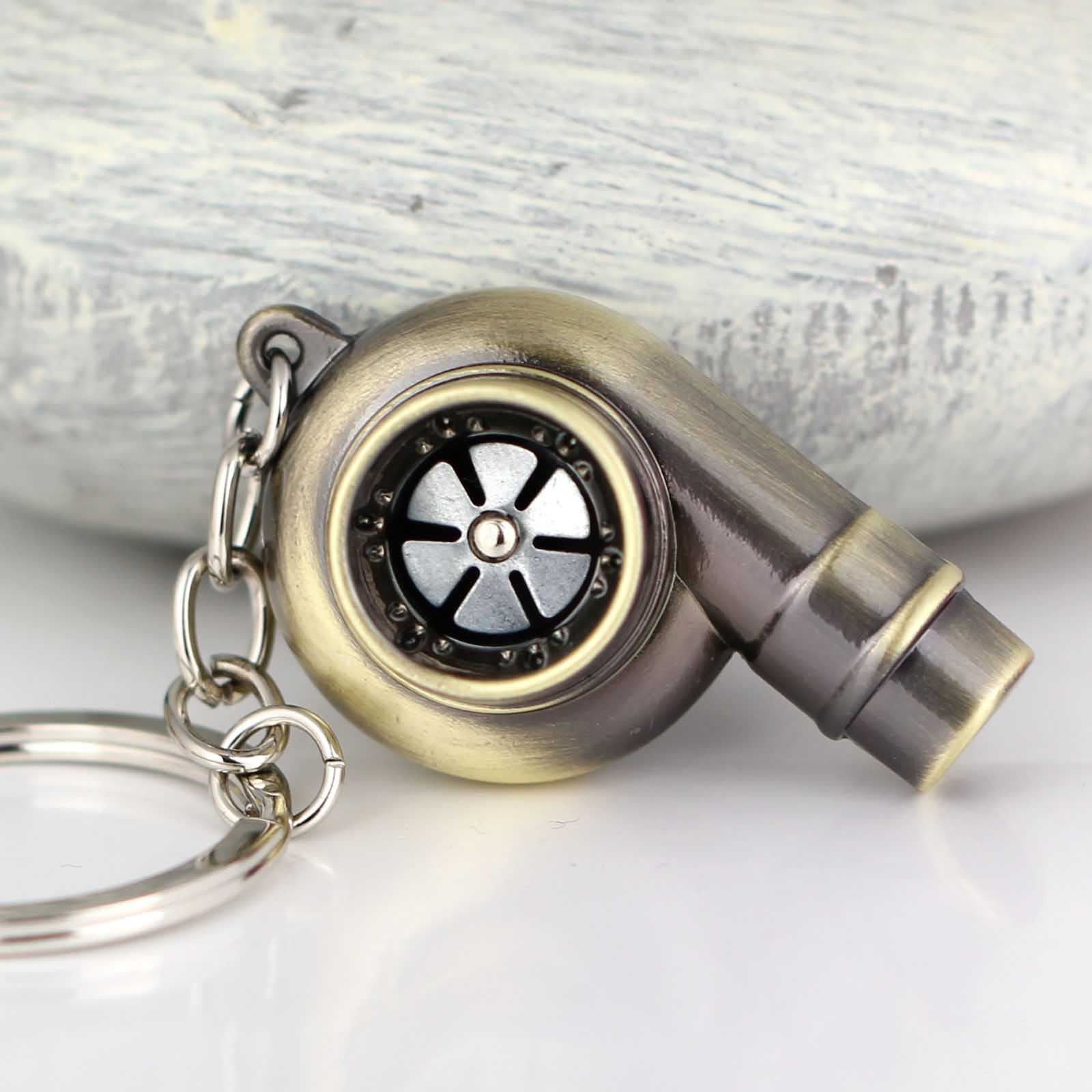 MAZIMARK--Real Whistle Sound Turbo Keychain Spinning Turbine Key Chain Ring Keyring Keyfob (BRONZE)