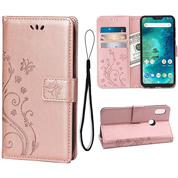 Wallet Case for Xiaomi Mi A2 Lite/Redmi 6 Pro, 3 Card Holder Embossed  Butterfly Flower PU Leather Magnetic Flip Cover for Xiaomi Mi A2 Lite/Redmi  6
