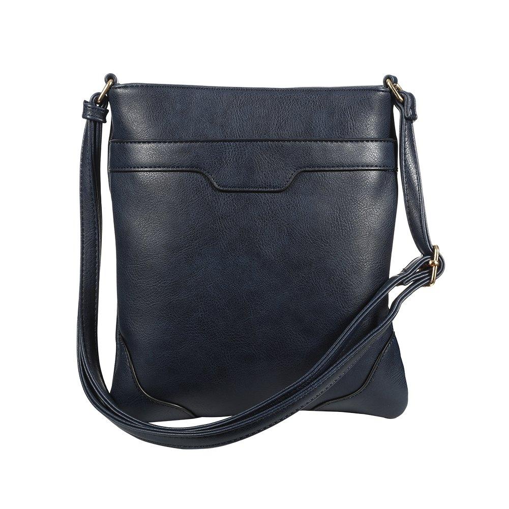 XY Fancy Crossbody Bags for Women Vegan Cross Shoulder Purses Multi Pocket Handbags, Navy Blue