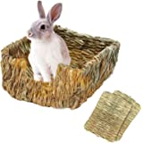 Tfwadmx Rabbit Grass Bed, Bunny Hay Mat Pet Bedding Chew Toys Natural Woven Grass House for Bunny Hamster Chinchillas…