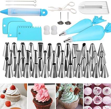 biscotti 6 pezzi Set di decorazioni per torte kit di decorazione professionale per cupcake set di strumenti per glassa per cupcake 1 accoppiatore in plastica riutilizzabile