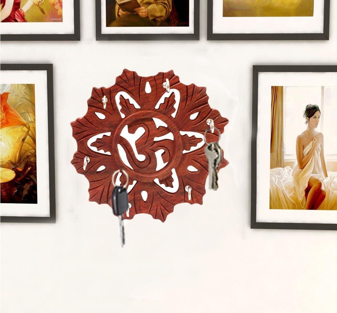 Timbre de madera redondo con 5 ganchos d/ía de pascua // d/ía de la madre // regalo de viernes sa 5.5 pulgadas gancho de llave para pared titular de llavero de color marr/ón ganchos para pared colgante para decoraci/ón de pared
