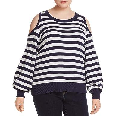 339a5d514f5a5 Michael Michael Kors Womens Plus Cold Shoulder Striped Crewneck Sweater  Navy 3X
