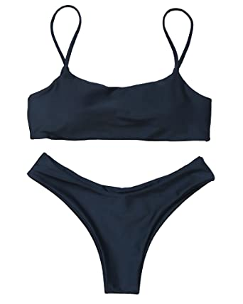 MOOSKINI Women Swimsuit Two Piece Strapless Bikini Set Beach Lace Up Thong Bottom  Bathing Suit (
