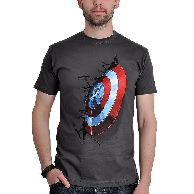 Avengers Vengadores Edad de Ultron Capitán América Camiseta Escudo del Adorno de Licencia de Algodón Gris Marvel BOBAW