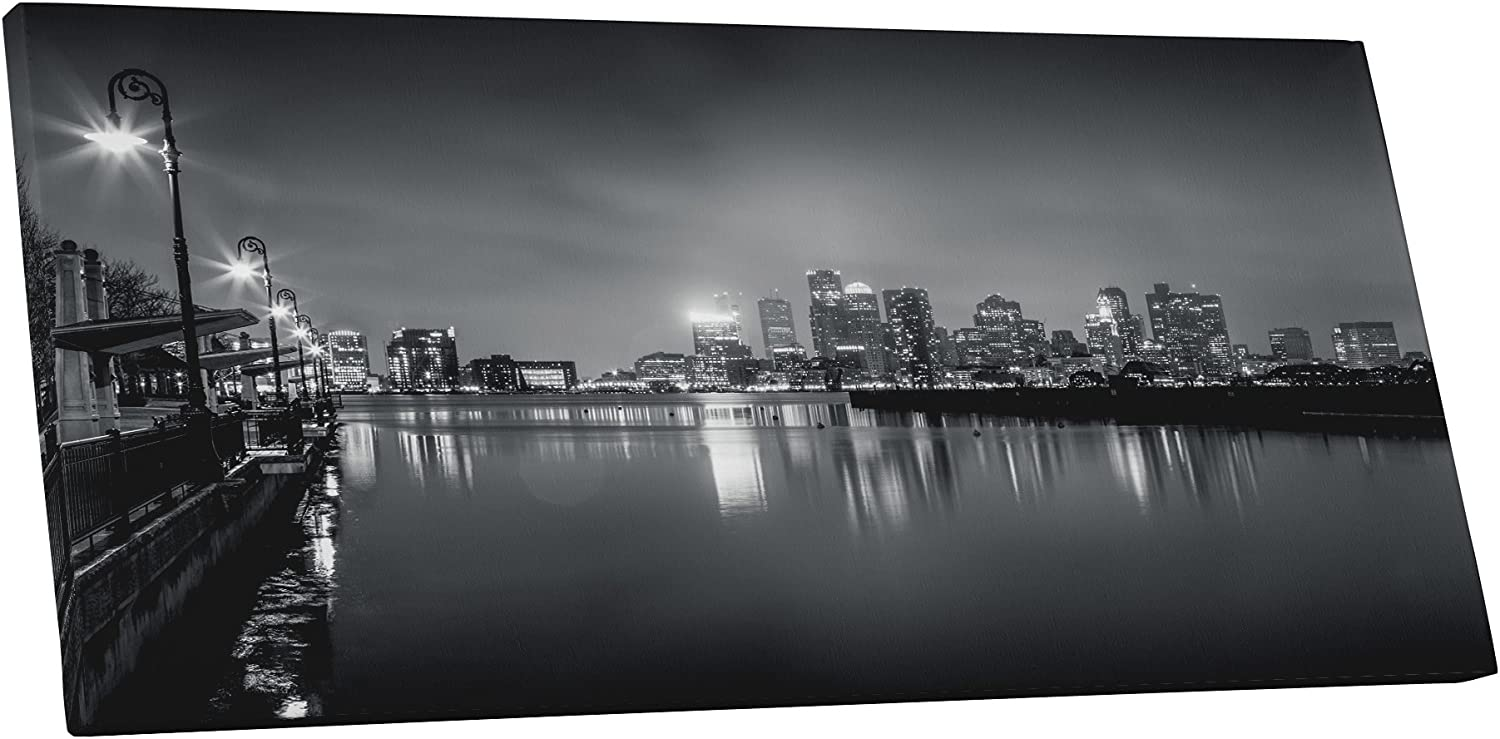 Pingo World 0721q5utx7a Boston Black And White Skyline Panoramic Gallery Wrapped Canvas Wall Art 45 X 20 Variable Posters Prints