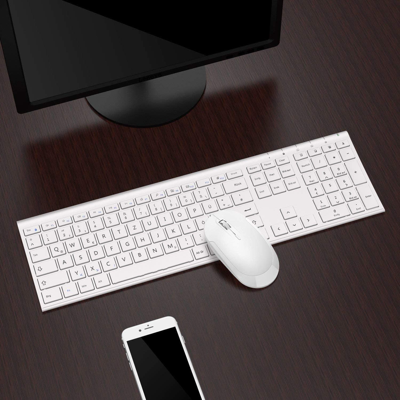 Jelly Comb Teclado recargable y juego de Ratón inalámbrico (2.4G) con receptor USB para PC / Laptop / Computer con diseño alemán QWERTZ Blanco