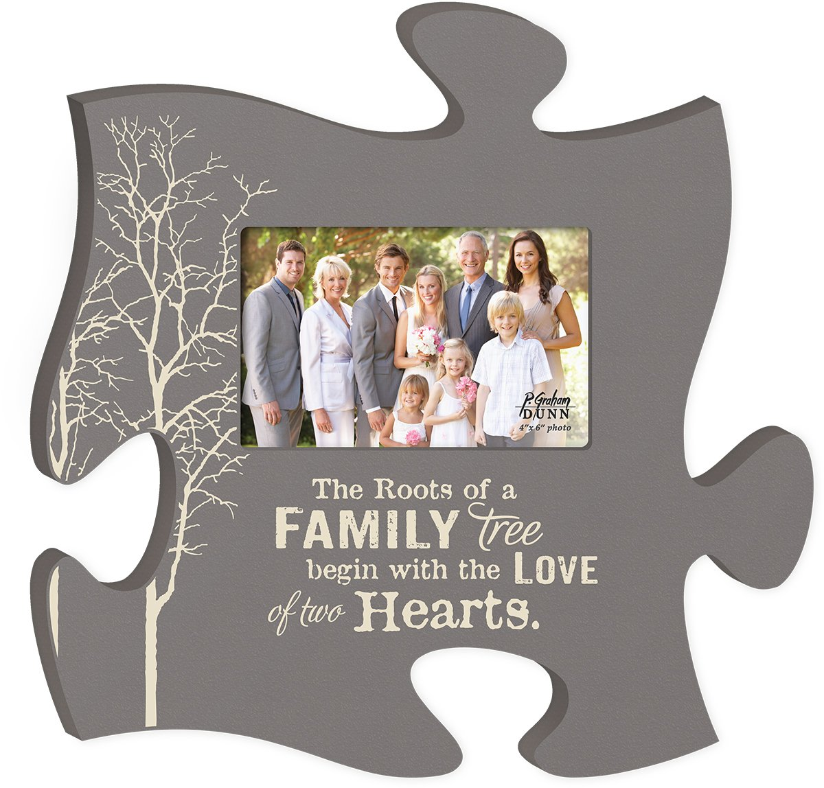 Graham Dunn The Roots of a Family Tree Grey 4x6 Photo Frame Inspirational Puzzle Piece Wall Art Plaque P