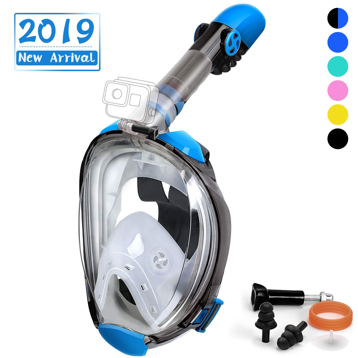 OUSPT Full Face Snorkel Mask, Snorkeling Mask with Detachable Camera Mount, Panoramic 180° View Upgraded Dive Mask with Newest Breathing System, Dry Top Set Anti-Fog Anti-Leak (Blue-2, L/XL) by OUSPT
