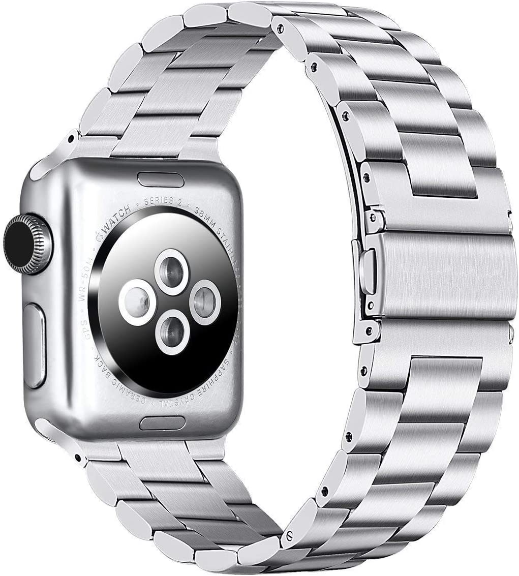 PUGO TOP Compatible with Apple Watch Band 42mm 44mm iWatch iPhone Watch Replacement Bracelet Link Band Series 6/5/4/3/2/1/SE Stainless Steel for Men Women. (42mm/44mm, Silver)