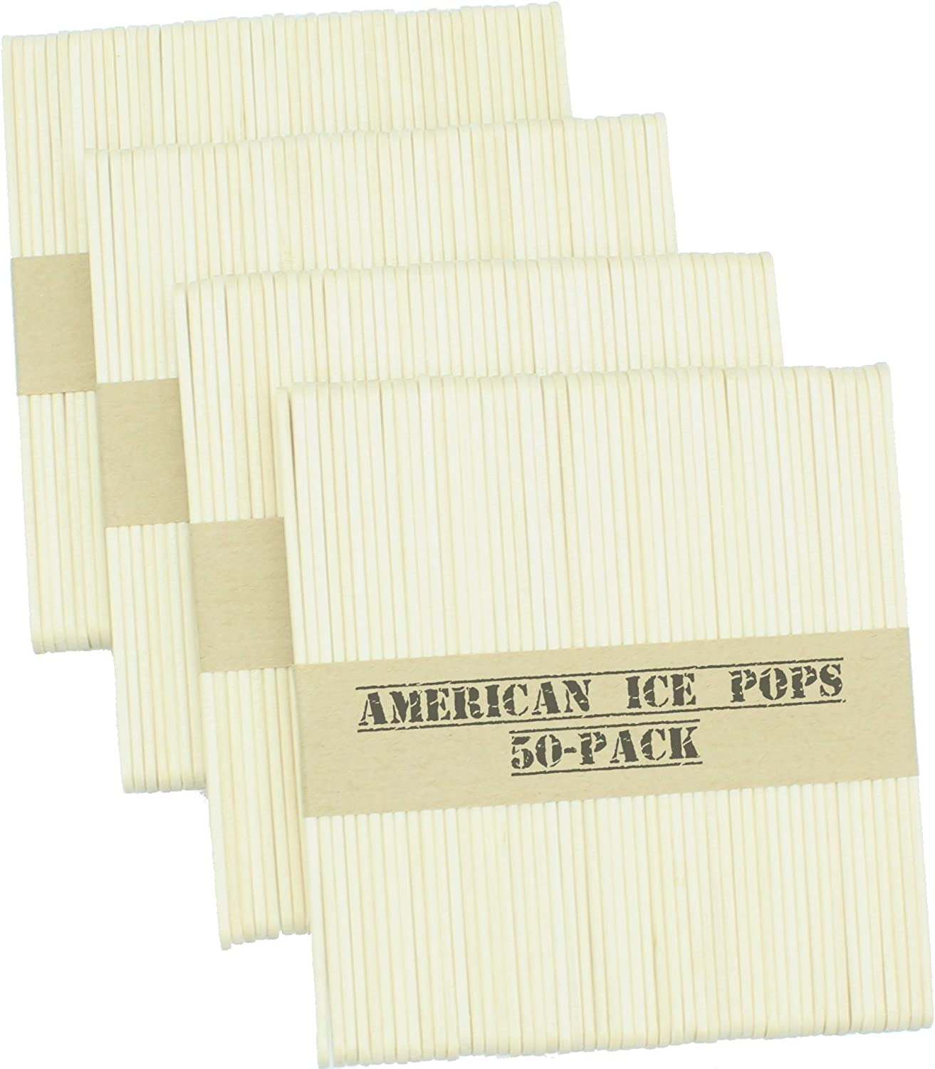 American Ice Pop Maker - Frozen Popsicle Mold Wooden Ice Cream Sticks (200 STICKS, Natural)