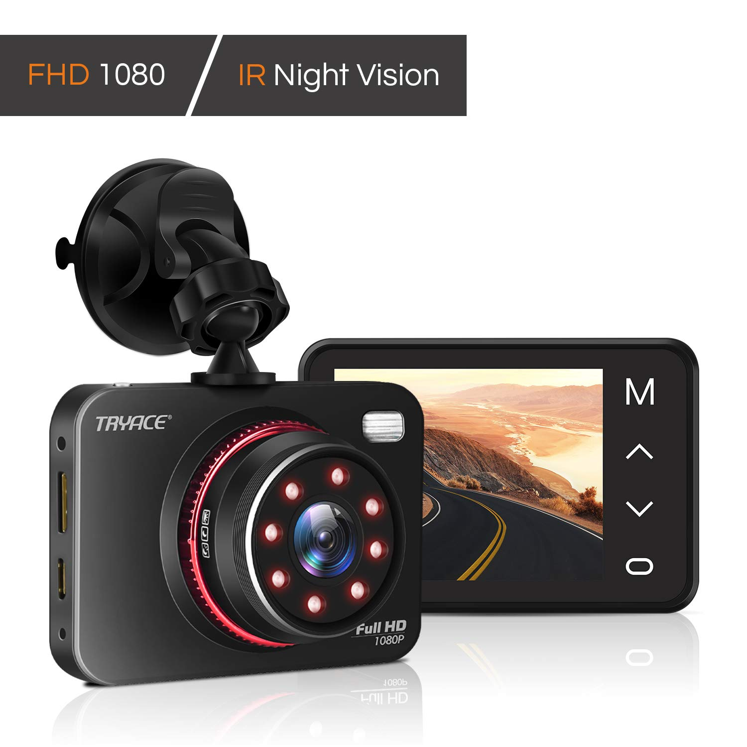 "TryAce Dash Cam 1080P FHD DVR Car Driving Recorder Supper Night Vision Dashcam 2.7"" LCD Screen 170°Wide Angle, G-Sensor, WDR, Parking Monitor, Loop Recording, Motion Detection"