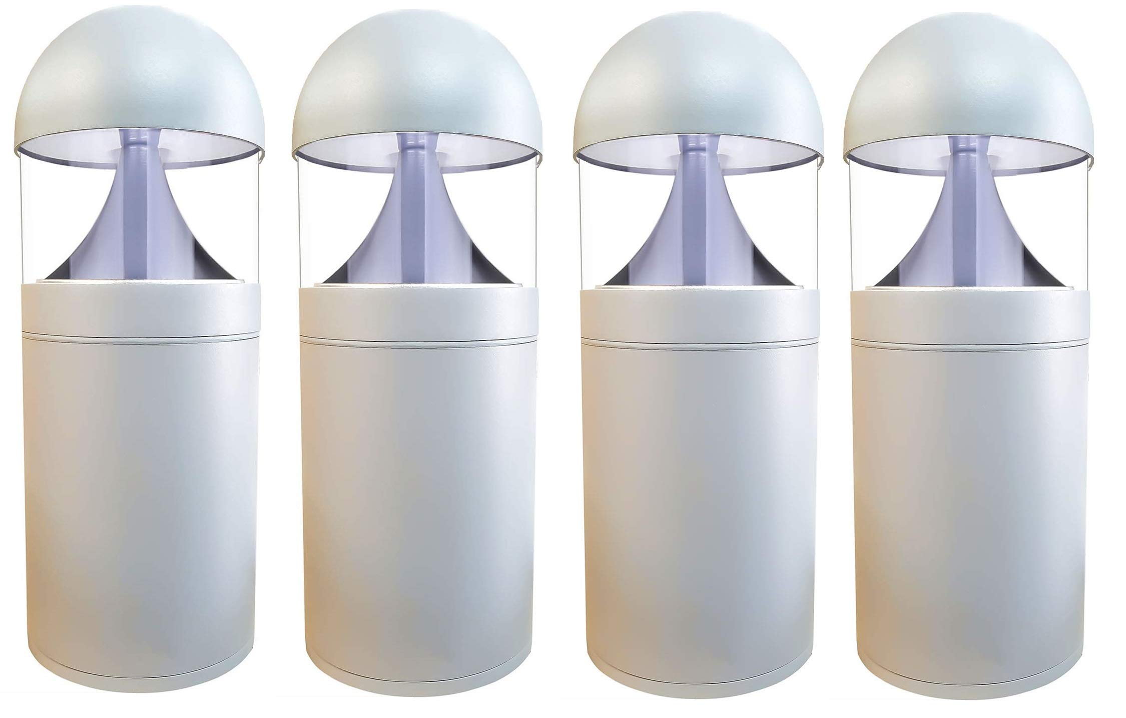 LED Grey Bollard Landscape Lights 16'' 10W 3000K 120-277V Commercial/Residential Lighting Fixture for Garden, Pathway, Driveway. Rated IP65 Suitable for Wet Locations, ETL Listed (4 Pack)