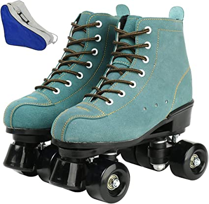 XUDREZ Unisex Roller Skates Double Row Four Shiny Wheels Classic High-top Roller Skates ffor Womens Mens Boys and Girls