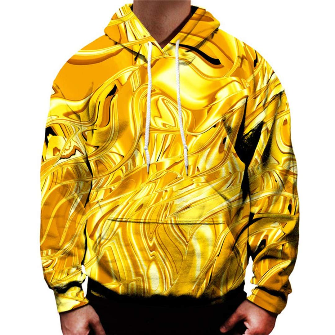 Gold Men Women Spring Autumn Sportswear Tracksuit All Over Print 3D Hooded Sweatshirt