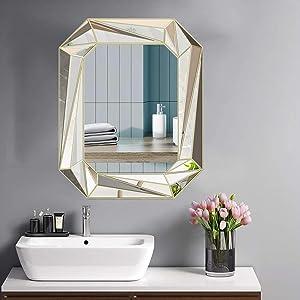 Modern Geometric Wall Mirror Art Silver Mirror for Bathroom, Bedroom, Living,Dining Room,entryway,Wall Decorative Hanging Mirror 24x30 inch