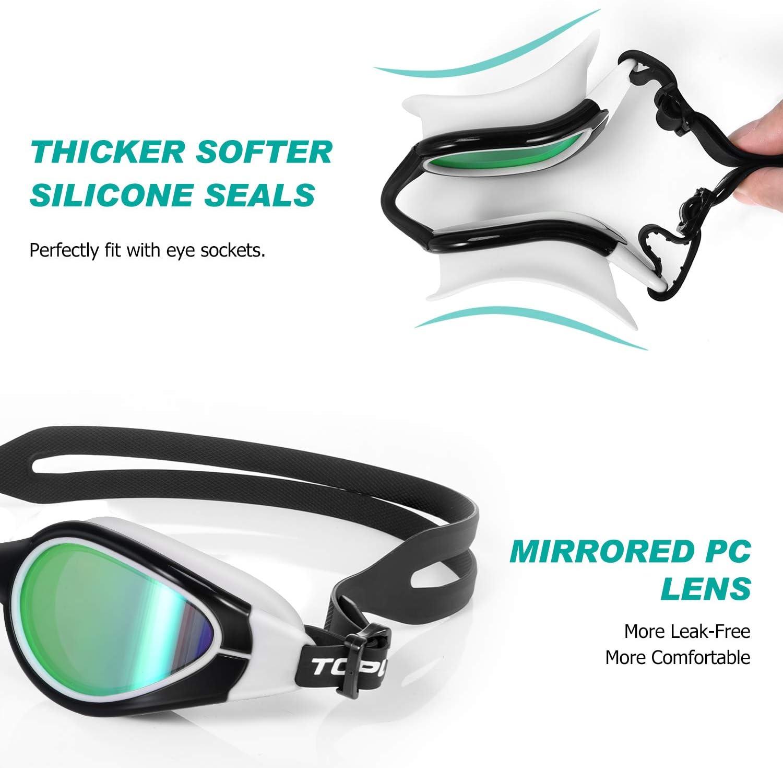 Women TOPLUS Swimming Goggles Kids Junior No Leaking Anti Fog UV Protection Swim Goggles Soft Silicone Nose Bridge for Men