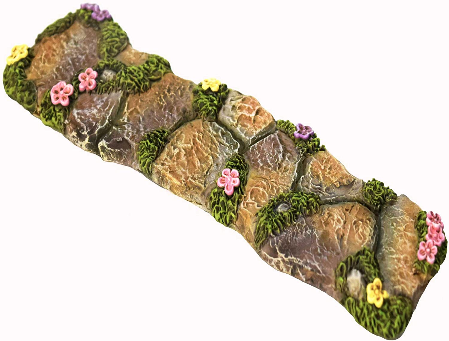Twig & Flower The Miniature Fairy Garden Walkway with Lovely Hand Painted Flowers and Fairy Moss