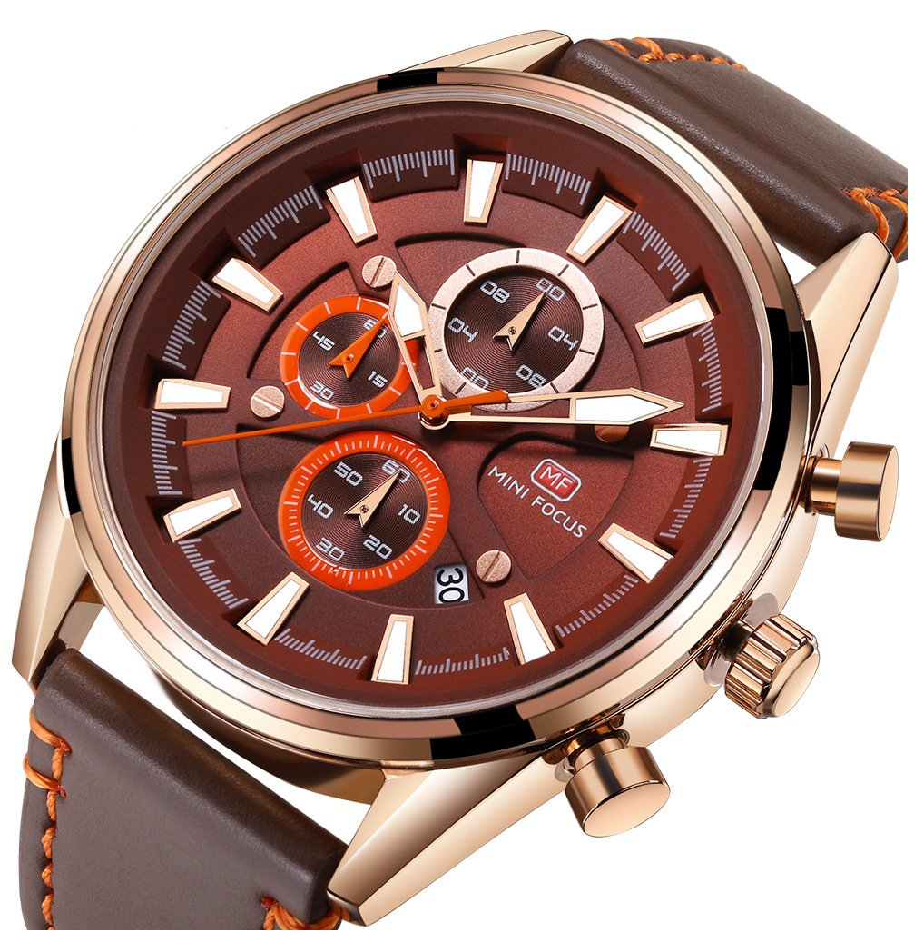 Men's Fitness Watch Men Quartz Clock 6 Hands 24Hr Date Display Leather Strap Classic Business Wristwatch (Brown)