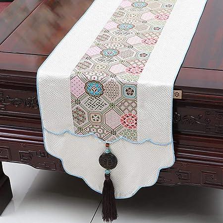 Camino De Mesa, Vintage White Table Runner Clásico Chino Impreso ...