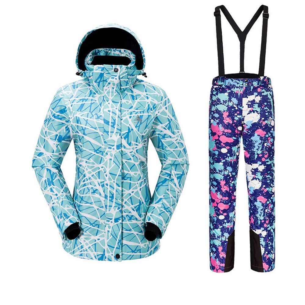 スノーボードウェア レディース スキーウェア 2点セット ジャケット コート サロペットパンツ 上下セットアップ スキー 釣り 保温【耐水圧10000mm 透湿5000g 撥水加工】 ブルー(B)+ブルー Large