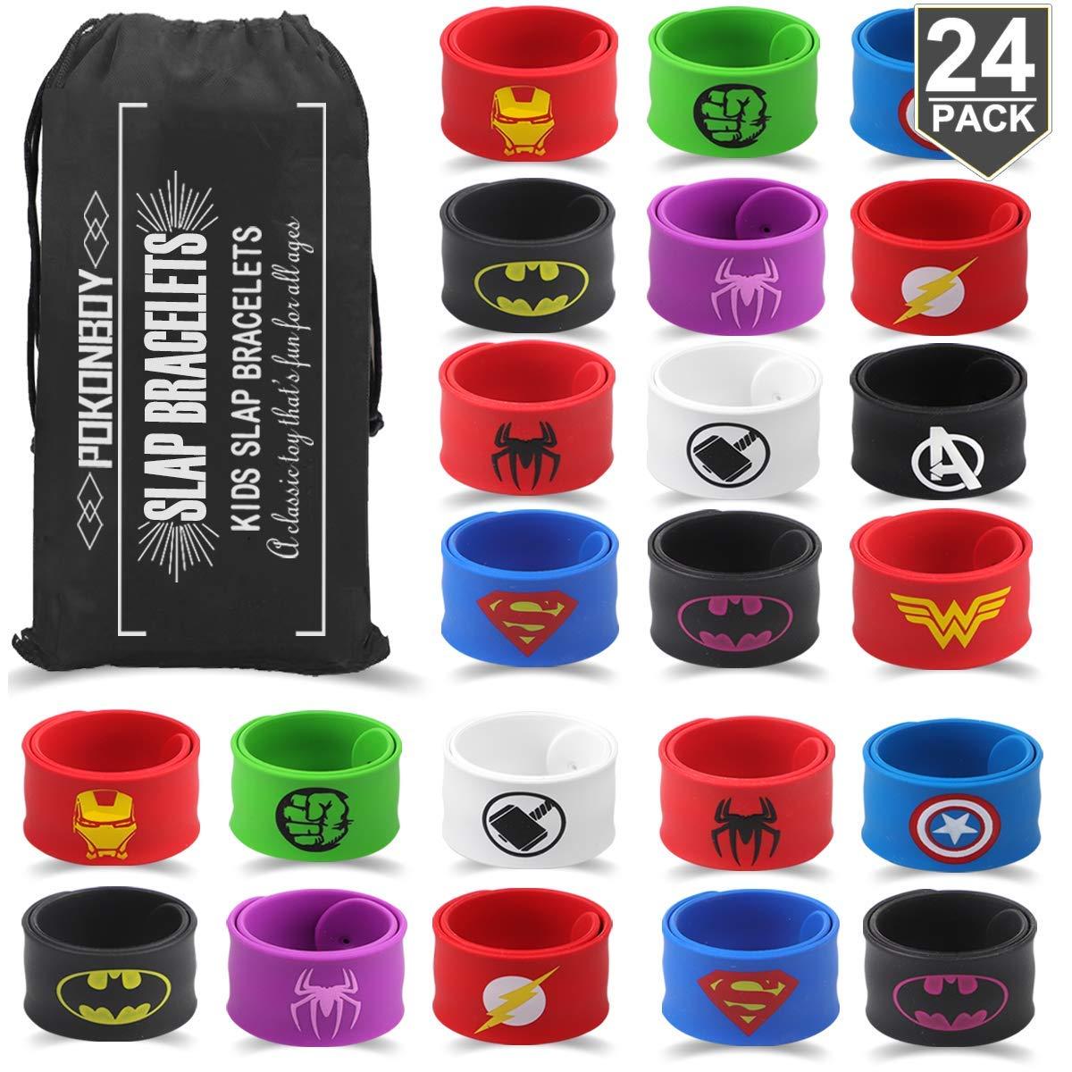 POKONBOY Superhero Slap Bracelets for Kids Party favors - 24 Pack Slap Bracelets for Boys Girls Kids Super Hero Birthday Party Favors Supplies Carnival Boys Prizes by POKONBOY