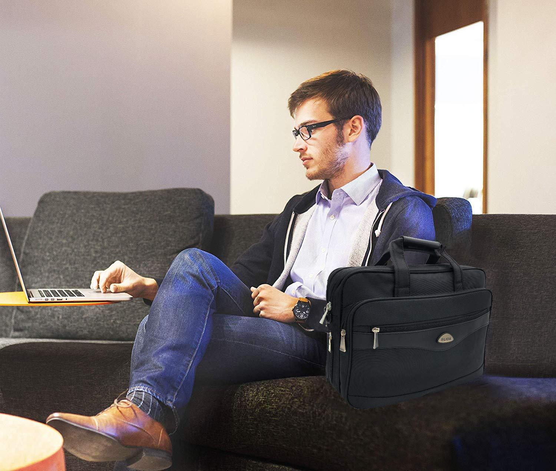 Eliox Borsa Computer A Tracolla Porta PC Laptop 15.6 Pollici Valigetta Uomo Donna Ufficio Lavoro Scuola Universit/à Viaggio Portatile Borse Multifunzione Nero Espandible Uomini Messenger Bag Notebook