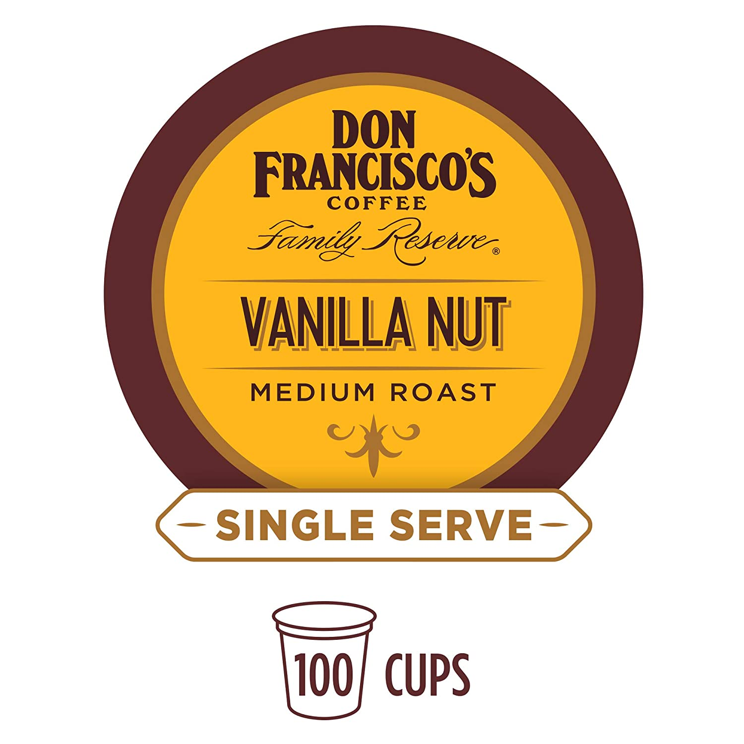 Don Francisco's Vanilla Nut Flavored (100 Pods) Single Cup Coffee Pods, Compatible with Keurig K-Cup Machines