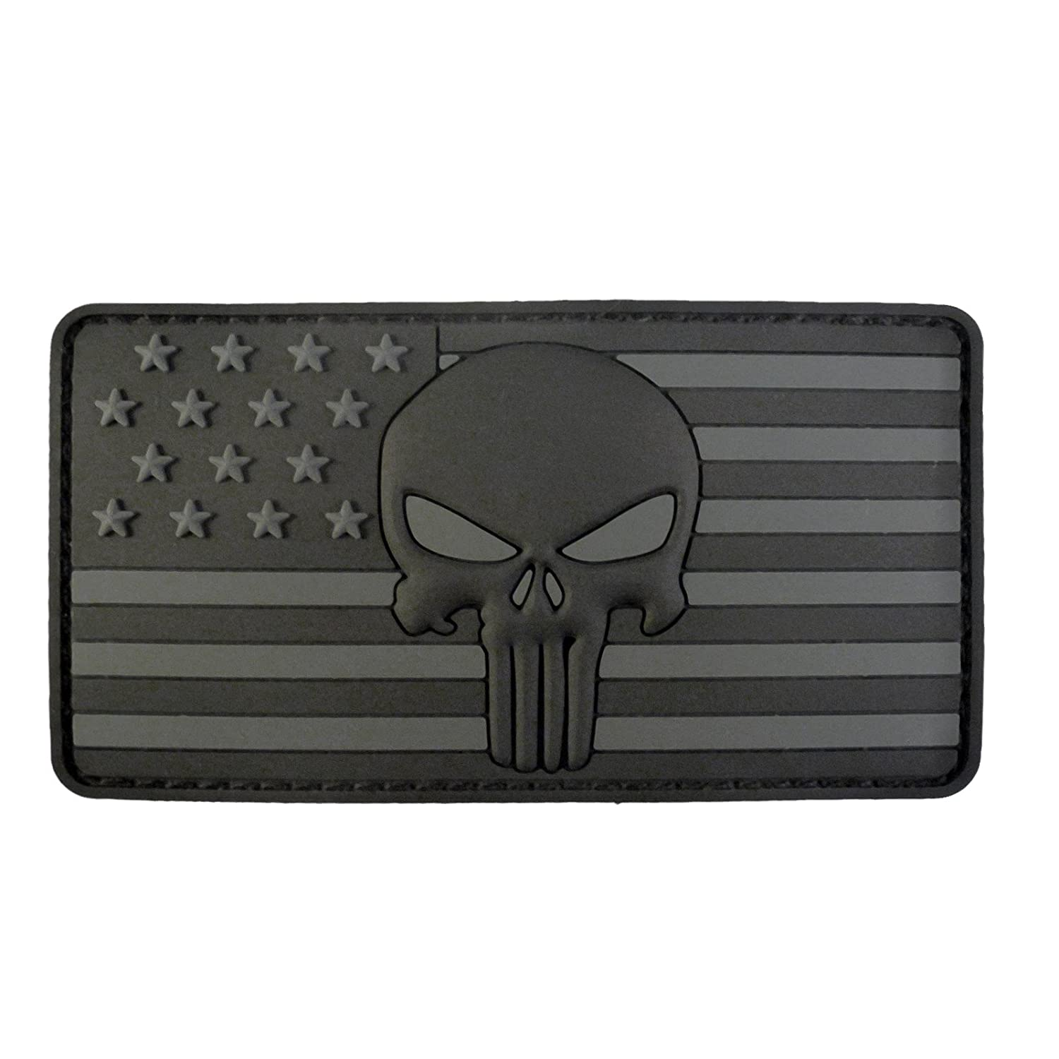 ALL BLACK Punisher American Flag Morale Tactical PVC Rubber Touch Fastener Patch 2AFTER1 P.1701.6.V