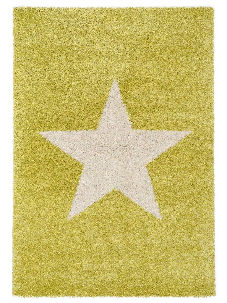 Benuta Shaggy Hochflor Teppich Graphic Star Grün 120x170 cm   Langflor Teppich für Schlafzimmer und Wohnzimmer