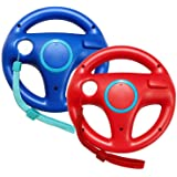 Jadebones 2 Pack Racing Steering Wheel with Wrist Strap for Wii and Wii U Remote Controller (Red+Blue)