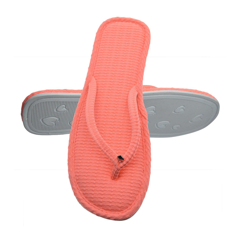 Women's Flip Flops Thong Textured Waffle Knit Memory Foam Flat Indoor Slippers Small