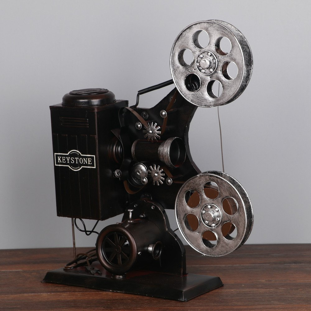 Bwlzsp 1 PCS Vintage tin old movie projector model photography props American country living room tabletop crafts LU716107 (Color : Gray)