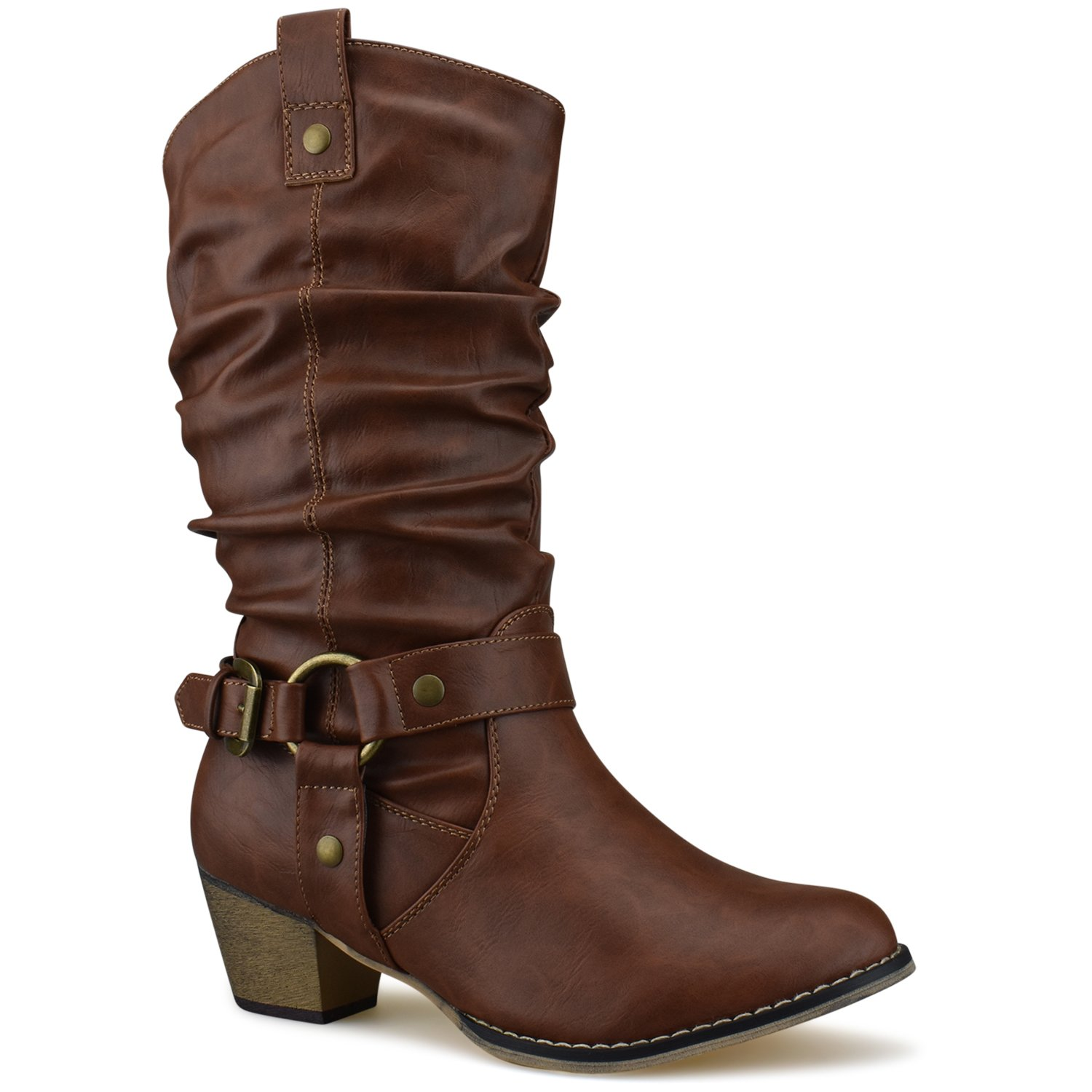 Women's Western Cowboy Pointed Toe Knee High Pull On Tabs Boots, TPS Wild-02 v25 Tan Size 8.5