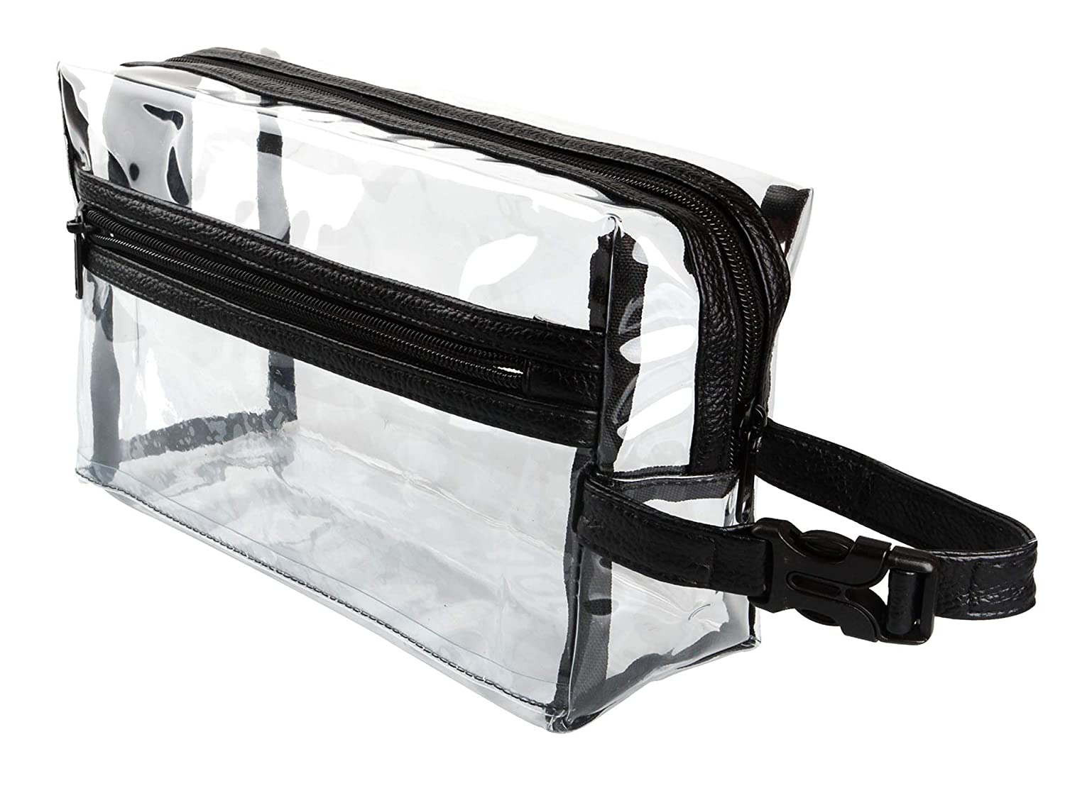 Heavy Duty Clear Toiletry Makeup Bags Transparent Shaving Bag Water Resistant Cosmetic Bag Organizer Pouch for Travel with Zipper and Handle (Black With Quick-release Buckle)