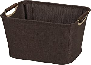 Household Essentials 600 Small Tapered Fabric Storage Bin with Wood Handles | Coffee Linen,Brown