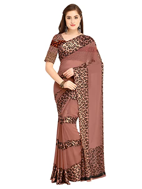 20e9c723da6e28 Kanchnar Women s Brown Satin Georgette Printed Saree  Amazon.in ...