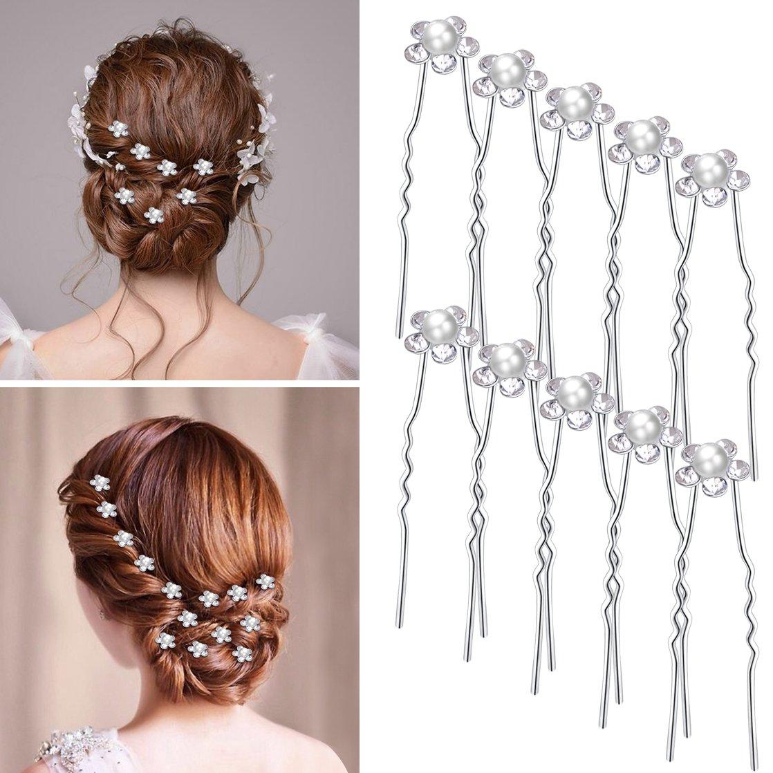 Amazon.com : Dxhycc 20pcs Bridal Hair Pins Pearl Flower Crystal ...