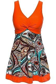 b5df9d2db7e0 Wantdo Women's Plus Size Swim Dress Modest Swimsuit Vintage Peacock One  Piece Swimwear