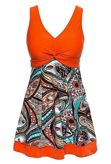 17f75380bf Wantdo Women s Padded Swimdress Printed One Piece Swimwear  Amazon ...