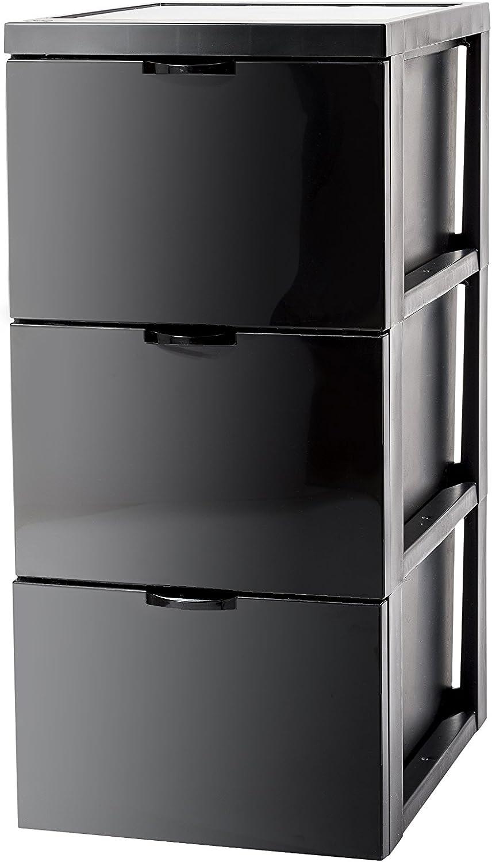 39x29x61.5cm Iris 130124 SCF-303 3 Drawer Storage Cart with Design Black