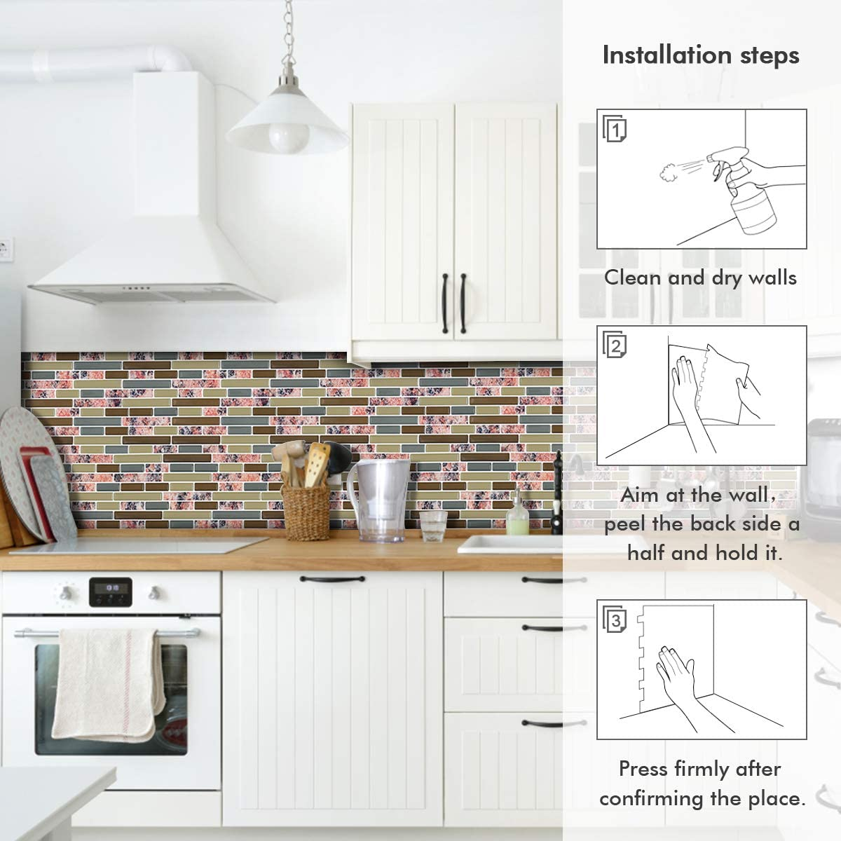 Peel and Stick Backsplash Granite Texture Design Self Adhesive Removable Backsplash Tiles Backsplash Tile for Kitchen Peel and Stick Red-Brown, 11x 9.25, 4 Sheets