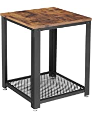 VASAGLE Industrial End Table, 2-Tier Side Table, Storage Shelf, Metal Frame, Easy Assembly ULET41X