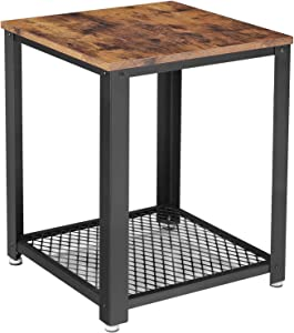 """VASAGLE Industrial End Side Table, 2-Tier Nightstand with Storage Shelf, Sturdy and Easy Assembly, Wood Look Accent Furniture with Metal Frame ULET41X, 17.7""""L x 17.7""""W x 21.7""""H, Rustic Brown"""
