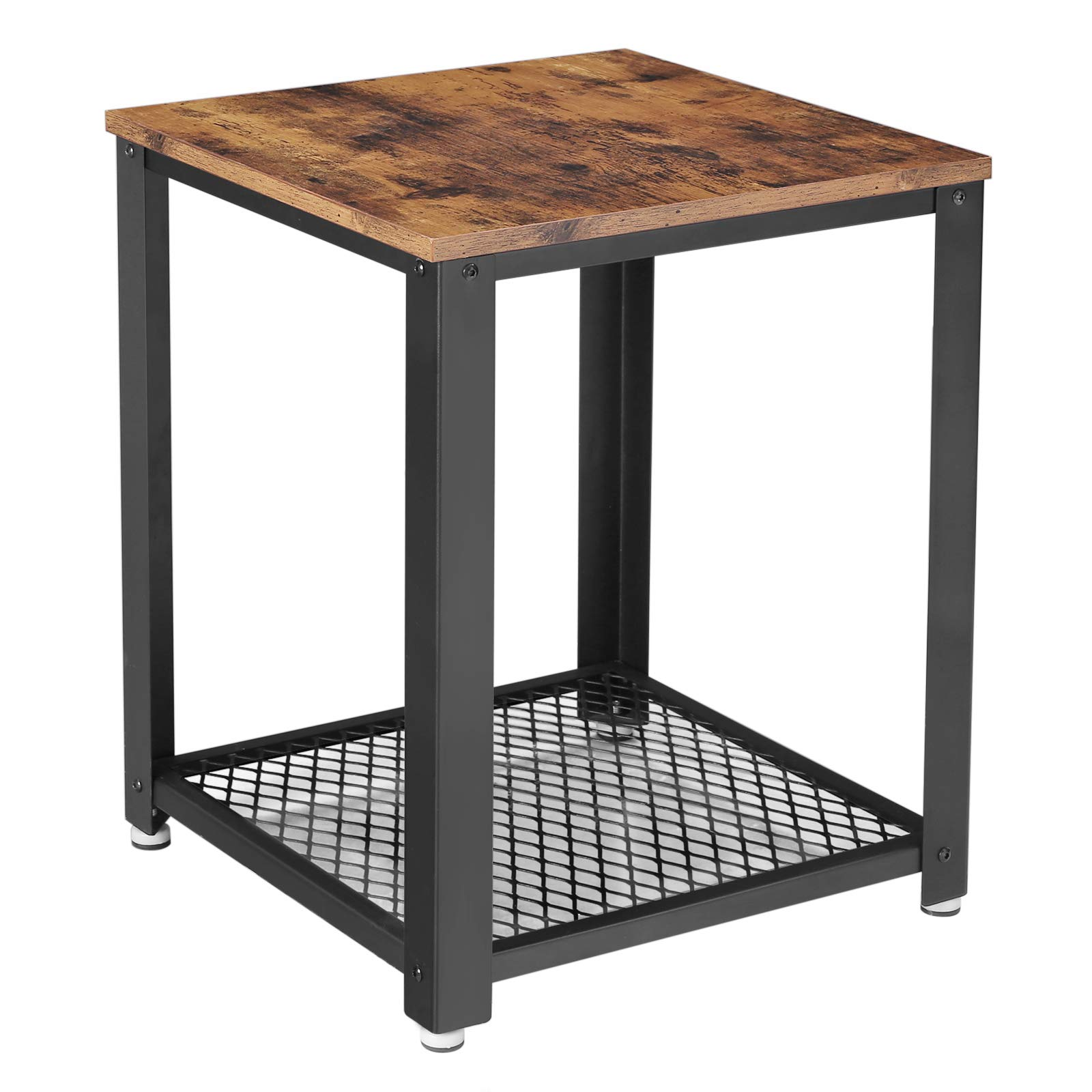 VASAGLE Industrial End Table, 2-Tier Side Table with Storage Shelf, Sturdy, Easy Assembly, Wood Look Accent Furniture, with Metal Frame, Rustic Brown ULET41X by VASAGLE