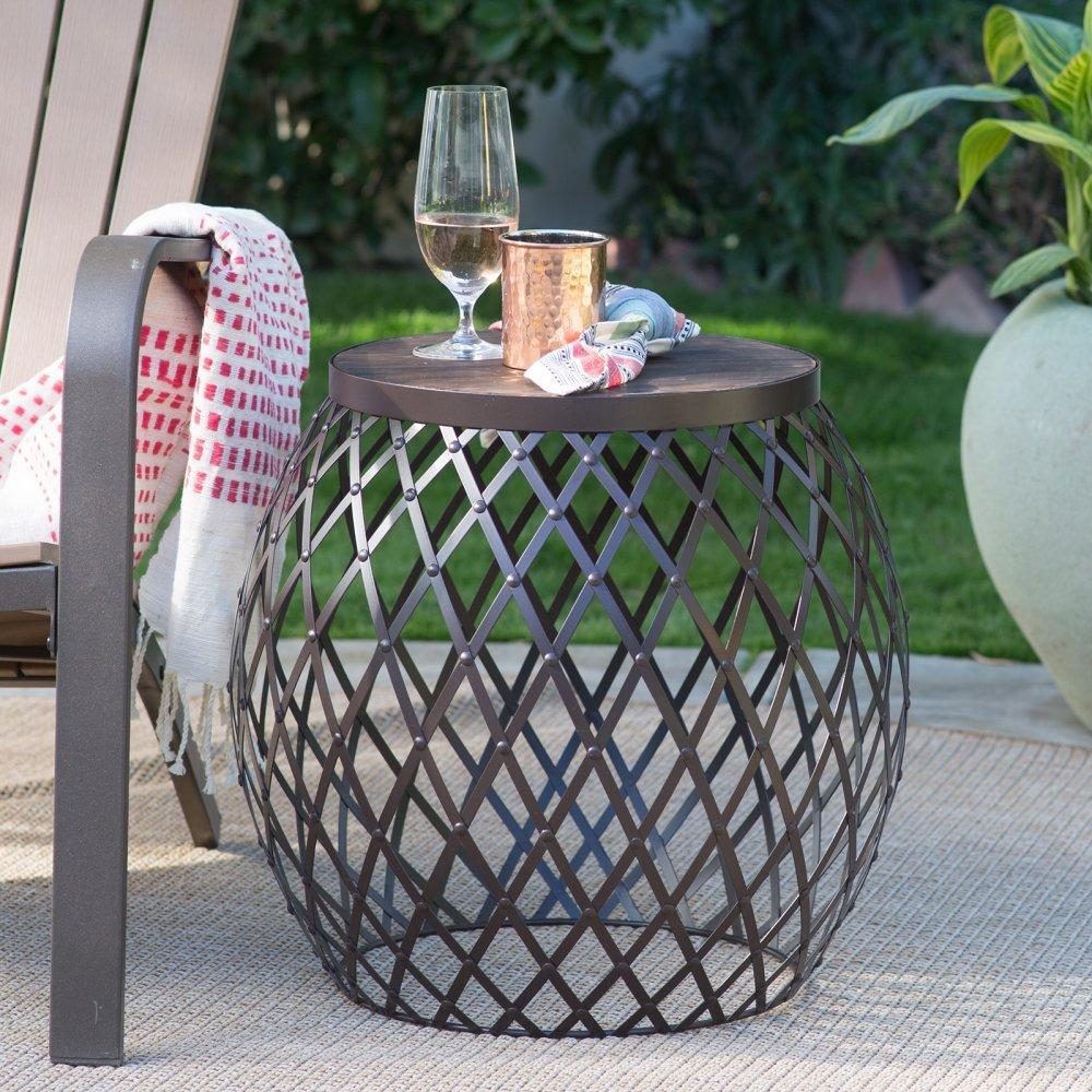 Brown Wood Metal Modern Industrial Rustic Round Drum Side Table Outdoor Patio End Table