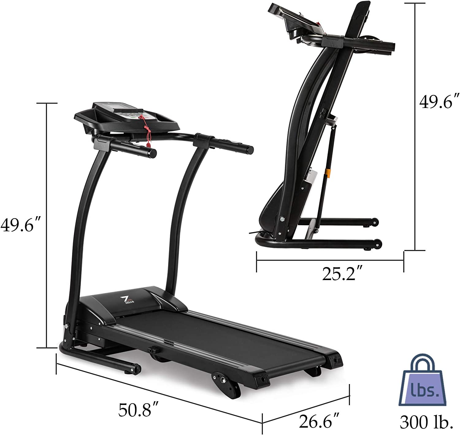 ZELUS 1100W Folding Treadmill Electric Motorized Running Machine with Downloadable Sports App Control Walking and Running, Cup Holder, MP3 Player and Wheels Easy Upgraded Treadmill with Mat