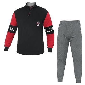 Pijama de invierno de franela para hombre adulto Milan, AC Milan producto oficial.,